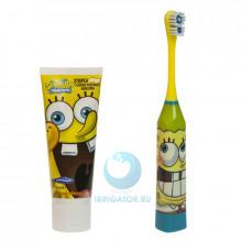 Электрическая зубная щетка Spongebob + зубная паста в Краснодаре